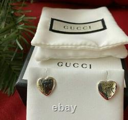 GUCCI Sterling Silver Blind For Love Heart Stud Earrings Made In Italy
