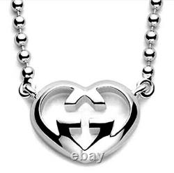 GUCCI Sterling Silver Love Britt G Heart Necklace Brand New Made In Italy