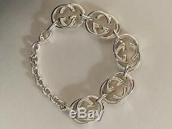 GUCCI Women's Sterling Silver GG Bracelet MADE IN ITALY New in Box