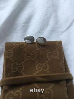 Genuine Gucci Sterling Silver Interlocking Cufflinks Very Solid Made Rare