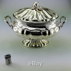 Giant Magnificent 925 Sterling Silver Tureen Made In Italy Antique Vintage Bowl