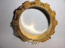 Great Antique Etruscan sterling silver cuff bangle bracelet hand made gold wash