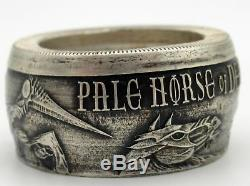 Grim Reaper Pale horse of death coin ring made from Pure silver coin