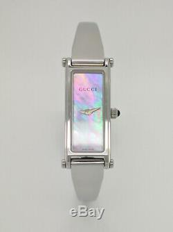Gucci 1500L Silver Tone Pink Mother of Pearl Dial Bangle Womens Swiss Made Watch
