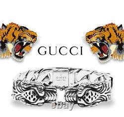 Gucci 8 Sterling Silver Tiger Head Bracelet 100% Authentic 925 Made In Italy