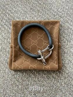 Gucci Leather & Sterling Silver Bracelet Made In Italy