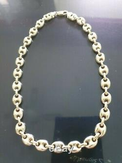 Gucci Link Style Sterling Silver 925 Ladies Necklace 16 Made In Italy IBB New