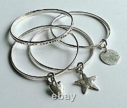 HAND MADE STERLING SOLID SILVER LOVE HEART BANGLE 2mm round wire LONDON HALLMARK