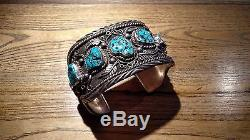 HEAVY Mens Navajo Natural Turquoise Bracelet Sterling Silver 200g! Hand Made