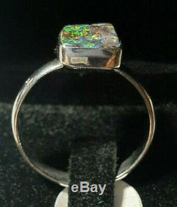 Hand Made Fine Silver Boulder Opal gem Ring Size 8 lot4
