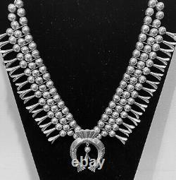 Hand Made Native American Sterling Silver Squash Blossom Necklace Les Baker