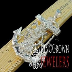 Hand Made Real Silver Santisima Muerte Grim Ripper Angel Of Death Anchor Pendant