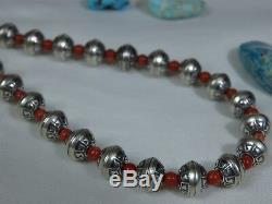 Hand Made Stamped STERLING Silver NAVAJO PEARLS Bamboo CORAL 17-21 Necklace