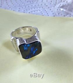 Hand made Men`s Sterling Silver Ring, Size 9.5, Boulder Opal, 11.3 ct VIDEO