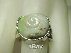 Hand made Sterling Silver Ring, Size 6.75, Snail Shell Opal Carving, 9.36 ct