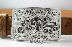 Handmade Sterling Silver (. 925) Cowboy Trophy Belt Buckle (Made in Texas) #EB01
