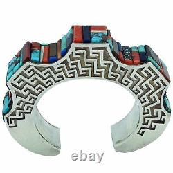 Hank Whitethorne, Bracelet, Peaks, Valleys, Multi Stone Inlay, Navajo Made, 6