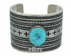 Harrison Jim, Bracelet, Kingman Turquoise, Four Direction, Navajo Made, 6.75 in