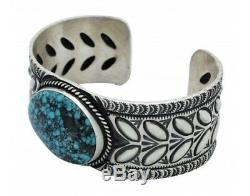 Herman Smith, Bracelet, Kingman Turquoise, Stamping, Silver, Navajo Made, 7 in