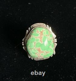 High Grade Carico Lake Turquoise Ring Size 8 Navajo Made Sterling Silver