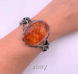 Huge Amber Cabochon Sterling Silver Artisan Made Bracelet