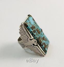 Huge Native American Sterling Silver Hand Made Turquoise Thunderbird Ring