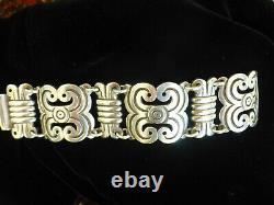 Huge heavy Statement artisan made silver mexican taxco Bracelet 120g signed