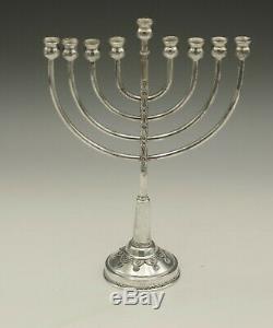 Judaica Made In Israel Sterling Silver Filigree Menorah 8.5 Vintage