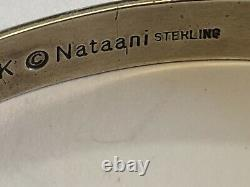 Kee Nataani Navajo Sterling Silver Cuff Bracelet Stamped Design Hand Made USA