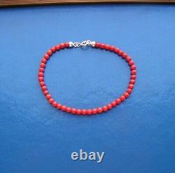King Baby Original Ball 4mm Red Coral Bead Bracelet Made Italy Artisan 1