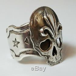 Kit Carson Day of the Dead Skull Ring, Sterling Silver, Artist Made OOAK, Biker