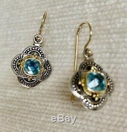 Konstantino Blue Topaz Earrings, 18k French Wire, Hand Made