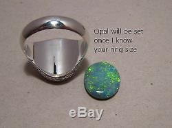 Large Mens Australian Opal Ring sterling silver Any Size (can be made in Gold)