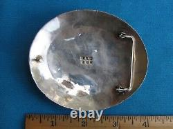 Large Norman Brown Navajo Sterling Silver and Coral Belt Buckle Heavily Made NR