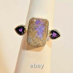 Louisiana Opal & Amethyst, Sterling Silver Hand Made Rectangle Ring+ Post cards