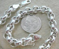 MADE IN ITALY 925 STERLING SILVER BELCHER 7mm LINK chain NECKLACE GIRL WOMEN
