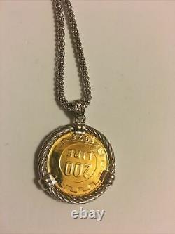 MIA FIORE genuine lira Coin Sterling Silver Necklace MADE in ITALY new