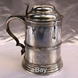 Magnificent 19c Sterling Silver English Tankard Made By Atkin Brothers