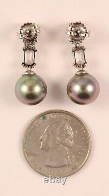 Majorica Sterling Silver Pearl Drop Earrings Gray Man Made Pearl Studs 11mm