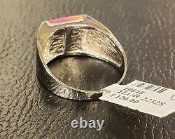 Men's Opal Solid Sterling Silver Signet Red Ring SZ. 12.5 Well Made Custom Z
