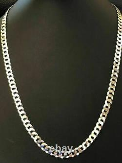 Men's Shiny 7mm Flat Curb Miami Cuban Chain Solid 925 Sterling Silver ITALY MADE