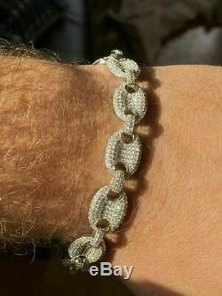 Mens 12mm Gucci Link Bracelet Solid 925 Sterling Silver ICY Man Made Diamond 6-9
