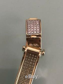 Mens Custom Made Bracelet 14k Gold Over Solid 925 Silver 12ct Diamonds 12mm