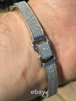 Mens Custom Made Bracelet Solid 925 Silver 12ct Diamonds 12mm Thick SUPER ICED