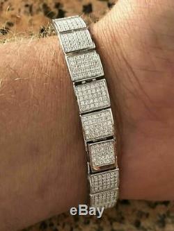 Mens Custom Made ICY Hip Hop Bracelet 925 Sterling Silver Diamond Rapper ICY