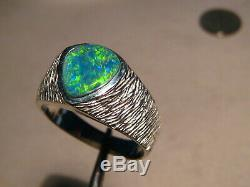 Mens Gem Opal Ring, Textured Band, sterling silver (can be made in gold)