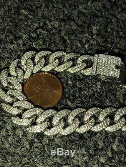 Mens Miami Cuban Link Bracelet Real Icy Solid 925 Silver Man Made Diamonds 12mm