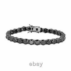 Mens Tennis Bracelet 925 Silver 4mm Man Made Black Diamond Tennis Bracelet 8.5