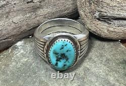 Mens Vintage Sterling Turquoise Artist Made Ring Native American Zuni Navajo 12
