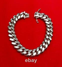 Miami Hand Made Solid Classic Cuban Link Silver 925 Bracelet 13mm 8.5 Inches